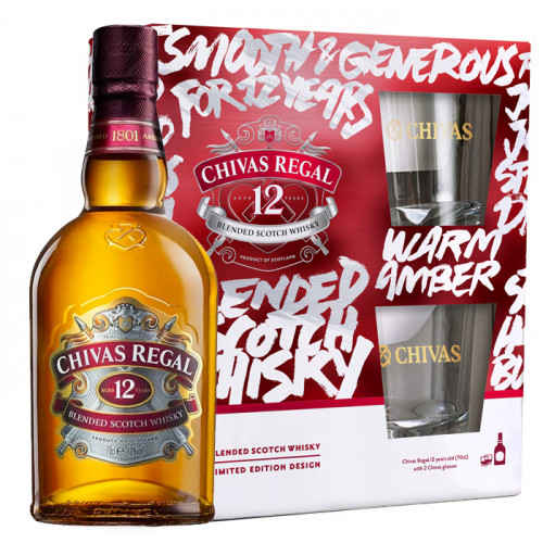 Chivas Regal - 12 Year Old - 1L - Gift Pack | Blended Scotch Whisky